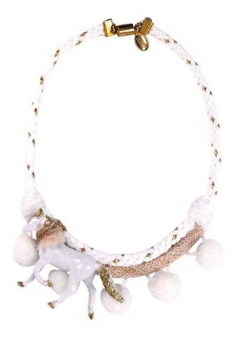 Modern Queen Kids Playful Ponies Necklace in White available for rent from The Borrowed Boutique.