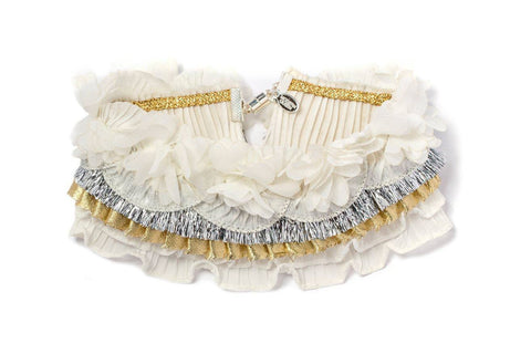 Modern Queen Kids Ruffled Collar in Ivory and Gold available for rent from The Borrowed Boutique.