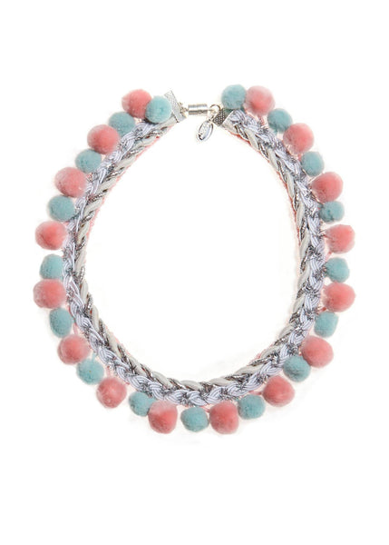 Modern Queen Kids Sparkle Pom Pearls Necklace in Pink/Cloud available for rent from The Borrowed Boutique.