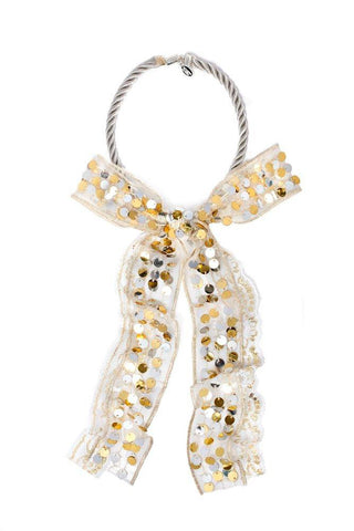 Modern Queen Kids Sparkling Bow Necklace in Gold and Silver available for rent from The Borrowed Boutique.