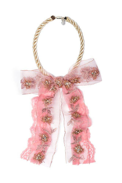 Modern Queen Kids Sparkling Bow Necklace in Rose available for rent from The Borrowed Boutique.