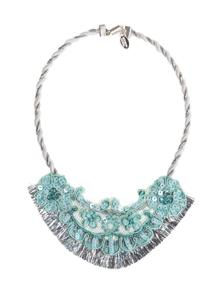 Modern Queen Kids Sparkly Night Necklace in Seafoam available for rent from The Borrowed Boutique.