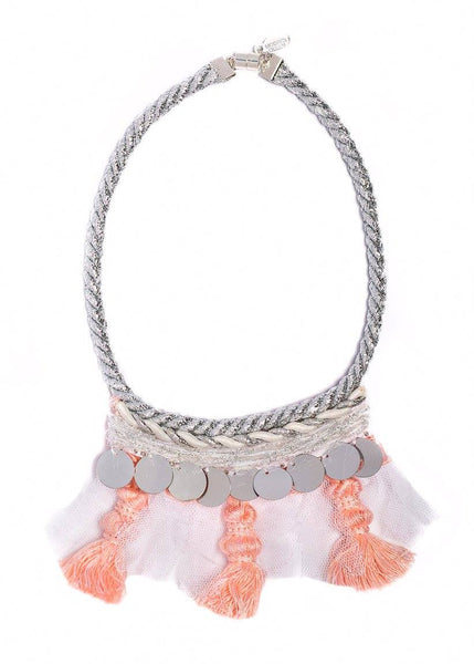 Modern Queen Kids Tassel Party Necklace in Blush and Silver available for rent from The Borrowed Boutique.