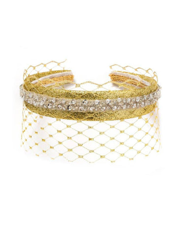 Modern Queen Kids Veiled Crown in Gold available for rent from The Borrowed Boutique.