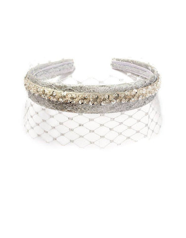 Modern Queen Kids Veiled Crown in Silver available for rent from The Borrowed Boutique.