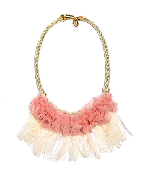 Modern Queen Kids Wedding Necklace in Blush and Ivory available for rent from The Borrowed Boutique.