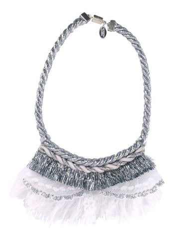 Modern Queen Kids Wedding Necklace in Silver available for rent from The Borrowed Boutique.