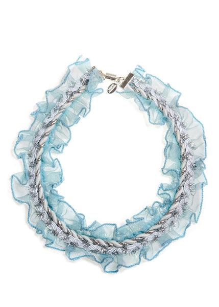 Modern Queen Kids Whimsical Ruffles Necklace in Cloud available for rent from The Borrowed Boutique.