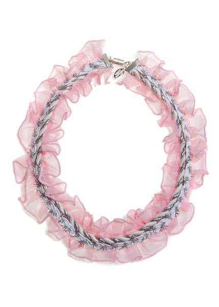 Modern Queen Kids Whimsical Ruffles Necklace in Pink available for rent from The Borrowed Boutique.