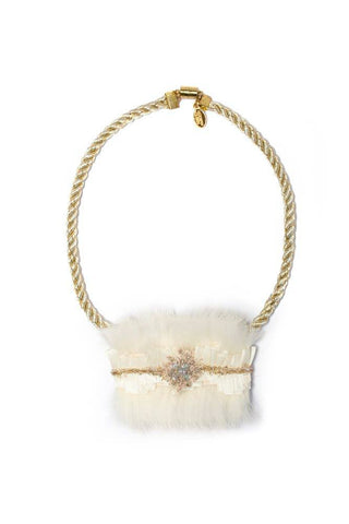 Modern Queen Kids Winter's Coat Necklace in Ivory, Gold, and Seafoam available for rent from The Borrowed Boutique