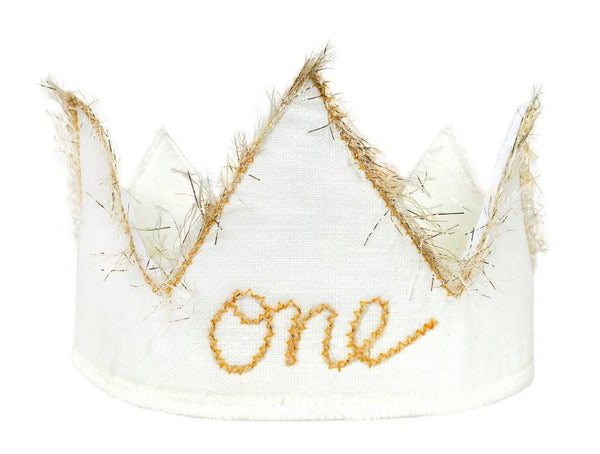 Oh Baby! Birthday Crown in Sparkle Gold and Oyster White available for rent from The Borrowed Boutique.