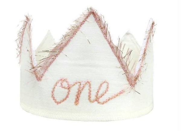 Oh Baby! Birthday Crown in Sparkle Pink and Oyster White available for rent from The Borrowed Boutique.