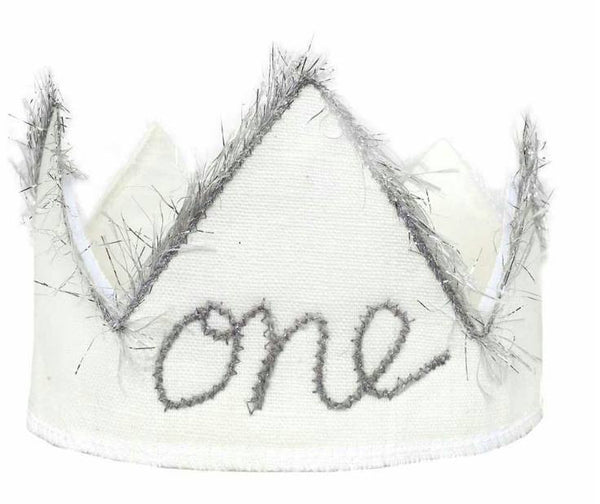 Oh Baby! Birthday Crown in Sparkle Silver and Oyster White available for rent from The Borrowed Boutique.