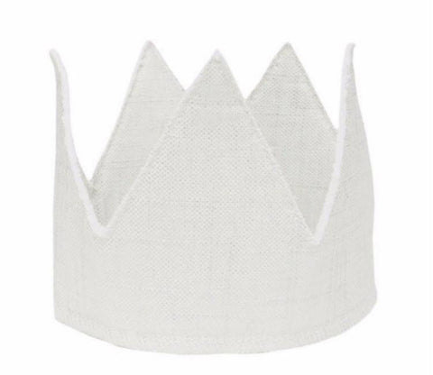 Oh Baby! Metallic Linen Crown in silver and snow for rent from The Borrowed Boutique.