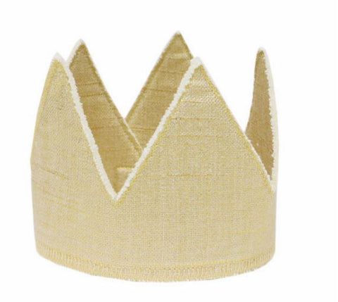 Oh Baby! Metallic Linen Crown in gold for rent from The Borrowed Boutique.