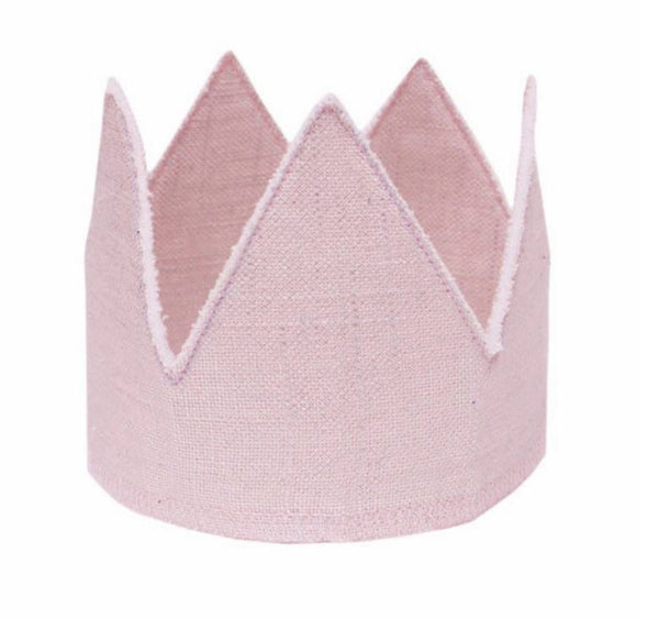 Oh Baby! Metallic Linen Crown in Sparkle Pink available for rent from The Borrowed Boutique.