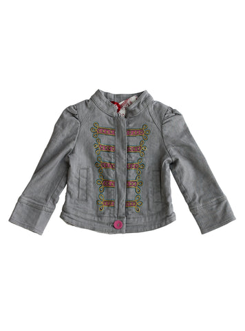 Paper Wings Bustle Military Jacket in Grey Denim available for rent from The Borrowed Boutique.