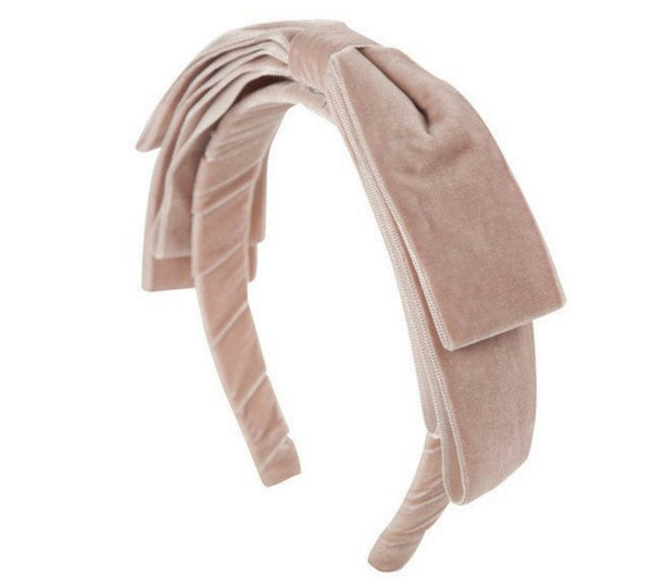 Project 6 NY Kids Heather Blush Pink Velvet Headband with Large Bow available for rent from The Borrowed Boutique.