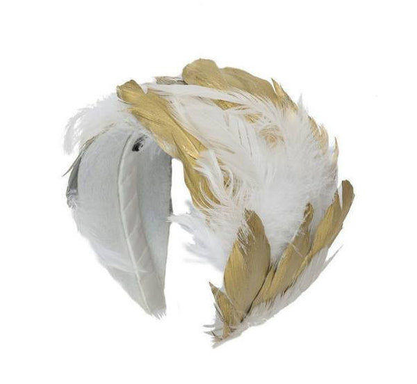 Project 6 NY Kids White and Gold Feather Headband available for rent from The Borrowed Boutique.