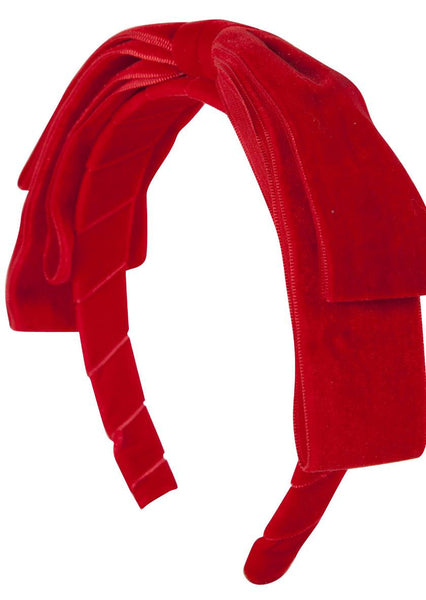 Project 6 NY Kids Heather Red Velvet Headband with Large Bow available for rent from The Borrowed Boutique.