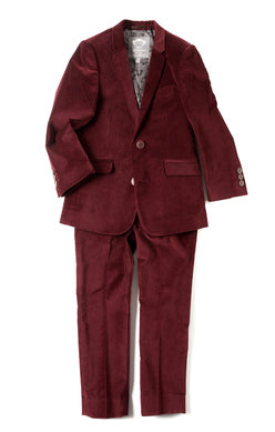 Appaman Boys Mod Suit Jacket In Tibetan Red Velvet
