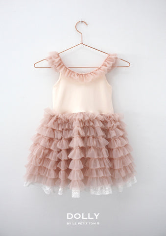 Dolly by Le Petit Tom Shoulder Ruffled Dress In Ballet Pink