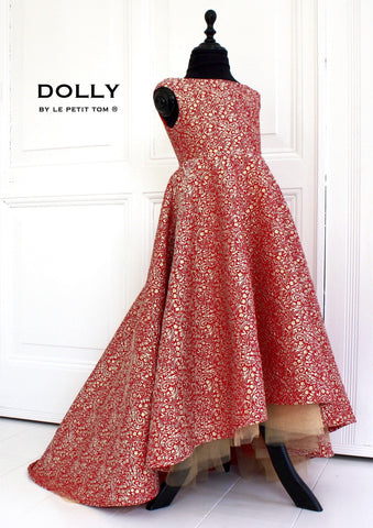 Dolly by Le Petit Tom Vivid Memory Snow White Jacquard Dress in Red on display