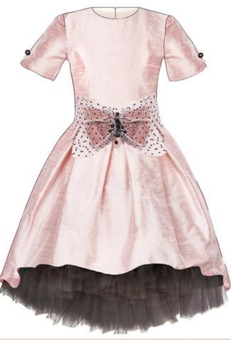 Lazy Francis Pink Raw Silk High-Low Dress with Bow and Grey Tulle Underskirt available for rent from The Borrowed Boutique.