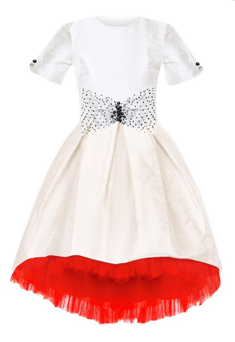 Lazy Francis White Raw Silk High-Low Dress with Bow and Red Tulle Underskirt available for rent from The Borrowed Boutique.