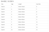 Sizing chart for our Tutu Du Monde En Pointe Ballet Flats in Silver.