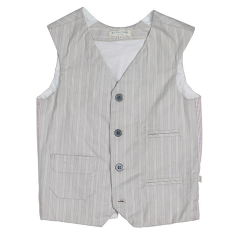 Blu Pony Vintage Grey Mel O Vest in Cream Stripe