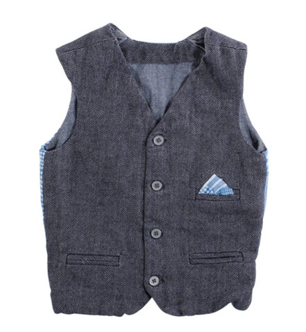 Blu Pony Vintage Erich VS Vest in Blue Herringbone with patchwork back