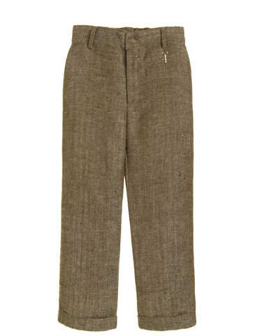 Little Wardrobe London Boys Slim Cut Herringbone Trouser In Bronze