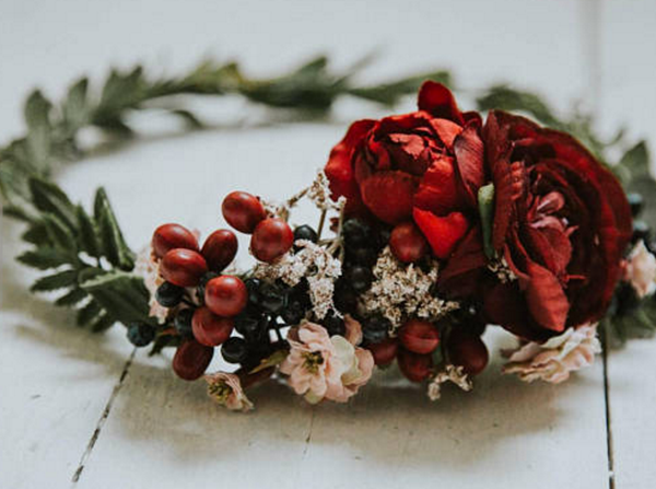 Miss Stevi Marie Deep Reds and Wild Blueberry Flower Crown. Available for rent from The Borrowed Boutique.