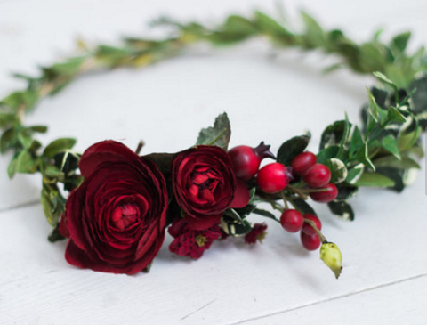Miss Stevi Marie Deep Rich Toned Reds and Greenery Berry Flower Crown. Available for rent from The Borrowed Boutique.
