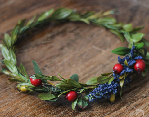 Miss Stevi Marie High Quality Synthetic Dark Blue and Deep Red and Mustard Berry Greenery Crown.