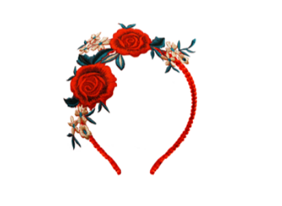 Lazy Francis Rose Embroidery Headband with Red Velvet Wrapped Band