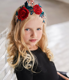 Lazy Francis Rose Embroidery Headband with Grey Velvet Wrapped Band