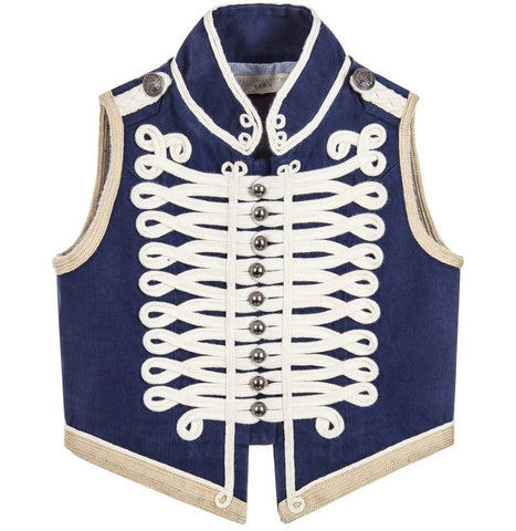Stella McCartney Navy Blue Military Style Waistcoat available for rent from The Borrowed Boutique.