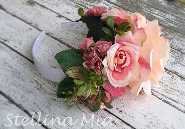 Stellina Mia Adele Light and Dark Pink Floral Headband available for rent from The Borrowed Boutique.