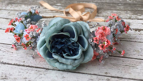 Stellina Mia Cinderella Blue Floral Halo available for rent from The Borrowed Boutique.