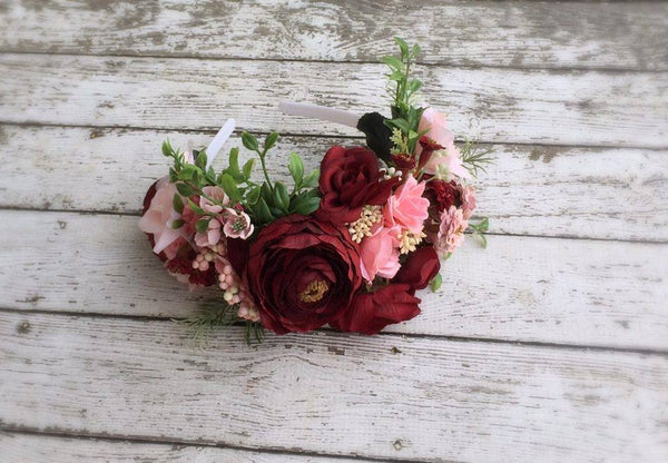 Stellina Mia Cora Red and Pink Floral Headband available for rent from The Borrowed Boutique.