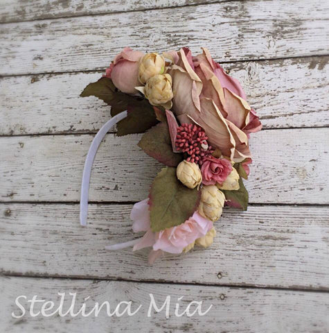 Stellina Mia Dusty Rose Floral Crown Headband available for rent from The Borrowed Boutique.