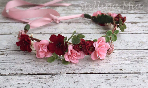 Stellina Mia Grapevine Lila Pink and Red Floral Halo available for rent from The Borrowed Boutique.
