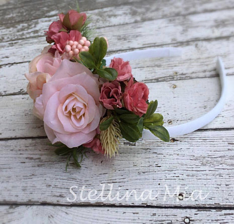 Stellina Mia Lilly Pink Floral Headband available for rent from The Borrowed Boutique.