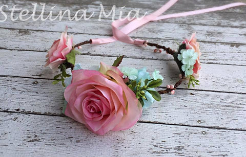 Stellina Mia Mae Grapevine Pink and Mint Floral Halo available for rent from The Borrowed Boutique.