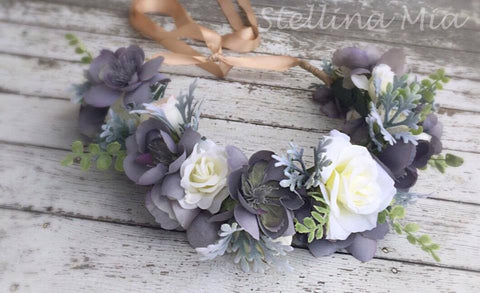 Stellina Mia Miss Laduree Grey Floral Halo available for rent from The Borrowed Boutique.