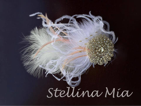 Stellina Mia Oh La La Feather Hairclip in White and Peach available for rent from The Borrowed Boutique.