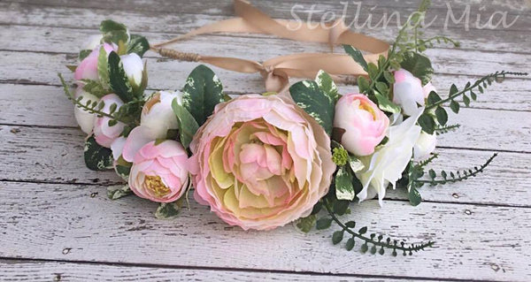 Stellina Mia Peony Pretty Pink Floral Halo available for rent from The Borrowed Boutique.