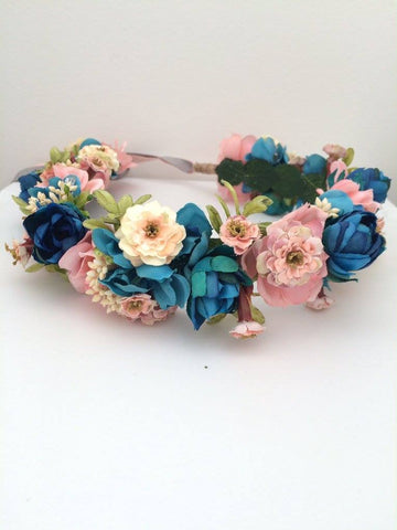 Stellina Mia Pink, Blue, Cream, and Dusty Rose Floral Halo available for rent from The Borrowed Boutique.